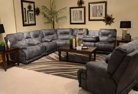 catnapper voyager sectional with lay flat 3 recliner sofa console