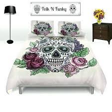 plum sugar skull duvet cover set skull bedding roses and skull