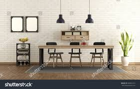dining room industrial style table chairs stock illustration