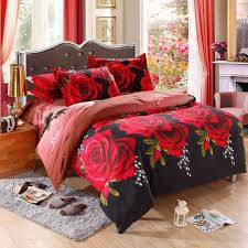 4 pieces 3d floral duvet cover bed linen bed sheet set