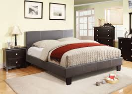 Full Platform Bed With Headboard Amazon Com Furniture Of America Lauren Leatherette Upholstered