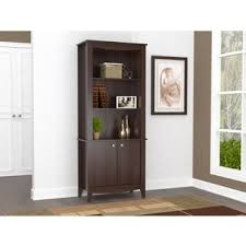 Bookcase With Doors Altra Quinton Point Espresso Glass Door Bookcase Free Shipping