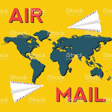 World Map Art Paper Plane From Air Mail Envelopes Over The World Map Stock