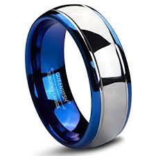 tungsten carbide wedding bands for queenwish 8mm tungsten carbide wedding bands blue silver dome