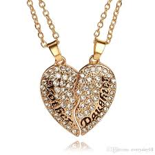 gold mother pendant necklace images Mother daughter jewelry set clear crystal full rhinestone broken jpg