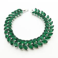 fashion jewelry charm bracelet images Emerald green zircon stone bracelets 10kt white gold filled jpeg