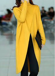 yellow sweater front slit turtleneck sleeve yellow sweater rosewe com