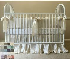 cream baby bedding set ruffled bumper sash ties ruffled crib