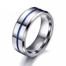 rings wedding men images Thin blue line tungsten ring wedding brand 8mm tungsten carbide jpg