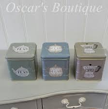 kitchen storage canister set of blue grey green vintage retro tea coffee sugar tin storage