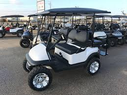 club car custom pearl white club car lift custom wheels ennis golf carts
