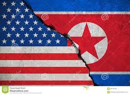 United Staes Flag North Korea Flag On Broken Brick Wall And Half Usa United States