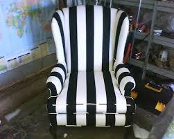 Black And White Striped Chair by Wing Back Chair Reupholstered In A Black And White Striped Fabric