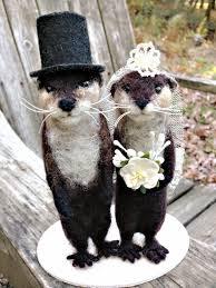 otter cake topper facci designs needle felted otter wedding cake topper