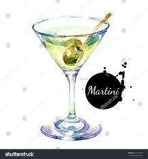 martini glass painting hand drawn sketch watercolor cocktail martini stock illustration