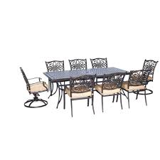 Patio Dining Chairs With Cushions Hanover Traditions 9 Pc Aluminium Rectangular Patio Dining Set