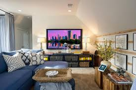 Hgtv Media Room - fascinating attic tv rooms features blue sectional sofas by hgtv