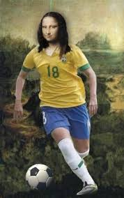 mona lisa playing on the football team of brazil images from