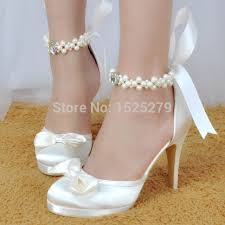 wedding shoes jakarta ep11074 pf white shoes women wedding closed toe high heel platform