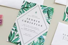 tropical themed wedding invitations botanical wedding invitations two tropical wedding