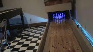 mini basement bowling with push button pinsetter youtube
