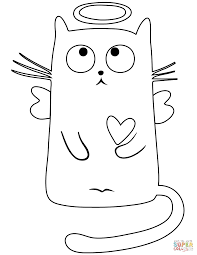 angel cat coloring page free printable coloring pages