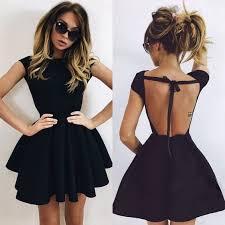 klshort black dresses backless homecoming dress black party dress open back