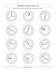 reading time on an analog clock in 1 second intervals a