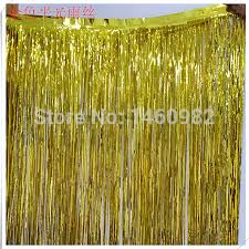Gold Shimmer Curtains 1x2m Decoration Gold Tinsel Shimmer Foil Door Curtain