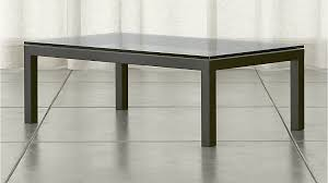Small Sofa Table by Parsons Clear Glass Top Dark Steel Base 48x28 Small Rectangular