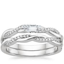 diamond wedding ring sets 18k white gold twisted vine diamond bridal set 1 4 ct tw