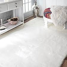 Fur Area Rug Faux Sheepskin Area Rug 5 X8 White Kitchen Dining