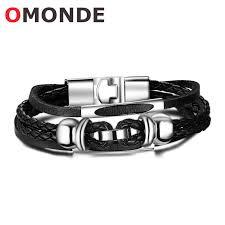 titanium steel bracelet images Fashion men leather bracelet titanium steel omonde jpg