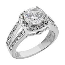stainless steel engagement ring halo cubic zirconia stainless steel engagement ring