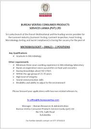 bureau veritas vacancies microbiologist 1 position vacancy in sri lanka