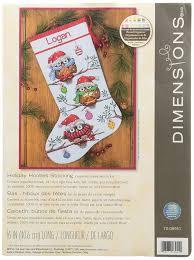 amazon com dimensions needlecrafts holiday hooties stocking