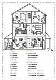 rooms in the house english worksheets match the furniture and rooms in the house