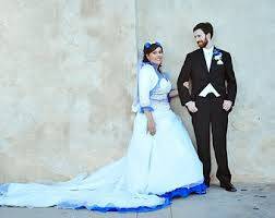 Blue Wedding Dress Red Wedding Dress Ball Gown Silk Taffeta Custom Made To