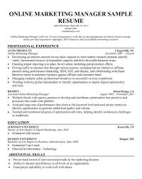 Best Marketing Manager Resume by Online Marketing Manager Resume Online Marketing Manager Resume