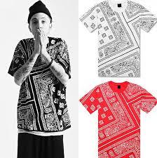 ktz hip hop t shirt red bandana shirt women mens short sleeve