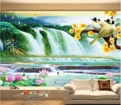 custom mural 3d photo wallpaper mountain waterfall lake lotus bird custom mural 3d photo wallpaper mountain waterfall lake lotus bird painting 3d wall murals wallpaper for living room walls 3 d in wallpapers from home
