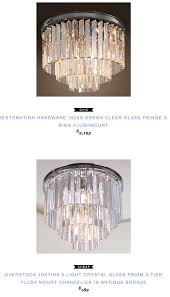 Ceiling Mount Chandelier Light Fixture Restoration Hardware 1920s Odeon Clear Glass Fringe 3 Ring
