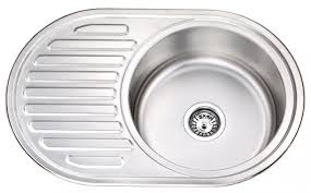Stainless Steel Single Round Bowl Kitchen Sink With Drainboard Gr - Round bowl kitchen sink
