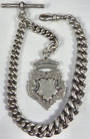 silver watch chain necklace images Heavy antique silver albert pocket watch guard chain with silver jpg