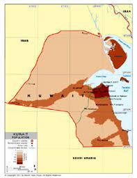 kuwait on a map population density map of kuwait by bestcountryreports com