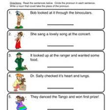 pronoun worksheet worksheets