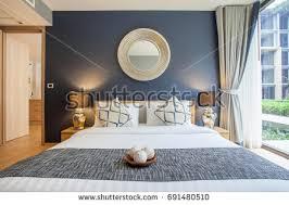 luxury interior design bedroom pool villa stock photo 661564918