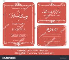 Wedding Invitation Cards Usa Wedding Invitation Cards Set Thai Painting Stock Vector 307139954
