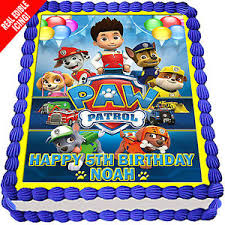 Paw Patrol Edible Cake Image Icing Personalised Birthday