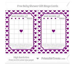baby shower gift bingo purple heart pattern baby shower gift bingo cards printable